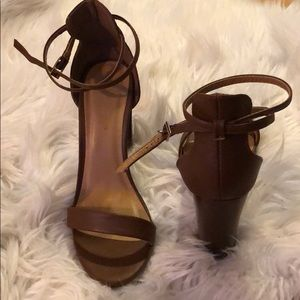 Brown think heels with ankle straps